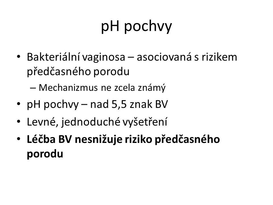 pH pochvy Bakteriální vaginosa – asociovaná s rizikem předčasného porodu. Mechanizmus ne zcela známý.
