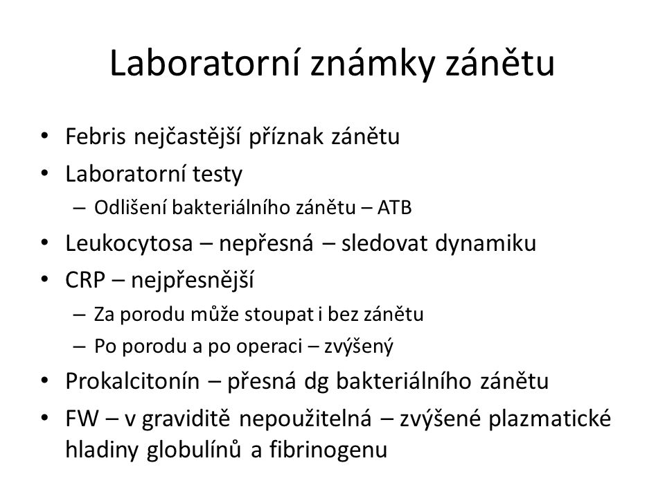 Laboratorní známky zánětu