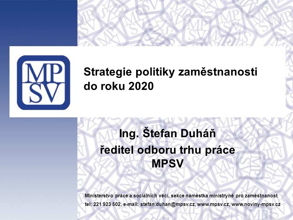Strategie politiky zaměstnanosti do roku 2020