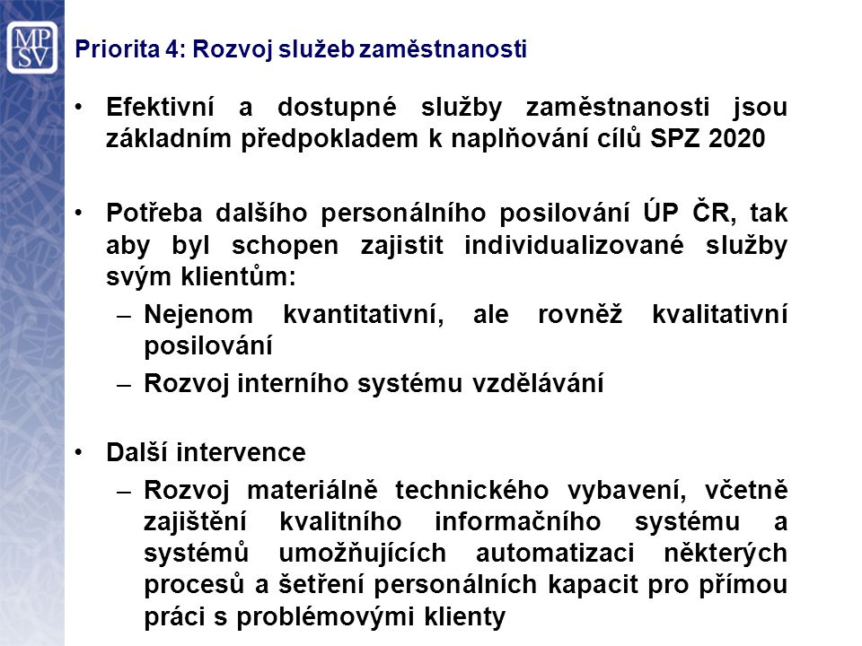 Priorita 4: Rozvoj služeb zaměstnanosti