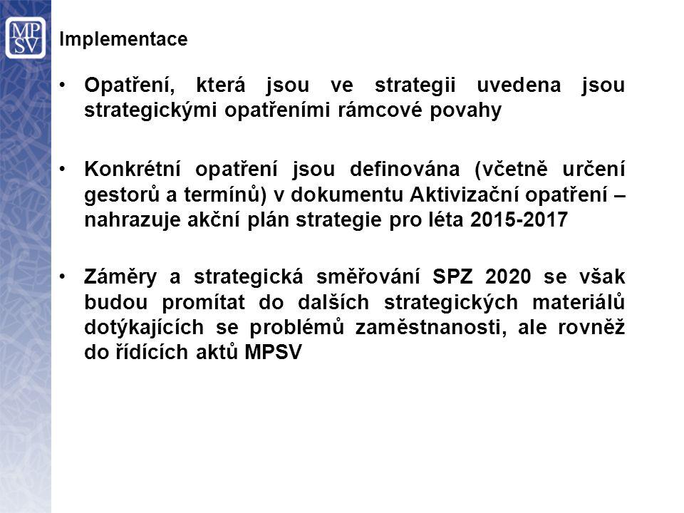 Implementace Opatření, která jsou ve strategii uvedena jsou strategickými opatřeními rámcové povahy.