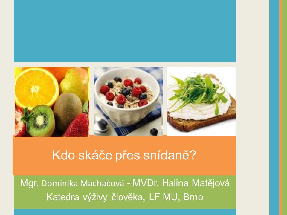 Kdo skáče přes snídaně. Mgr. Dominika Machačová - MVDr.