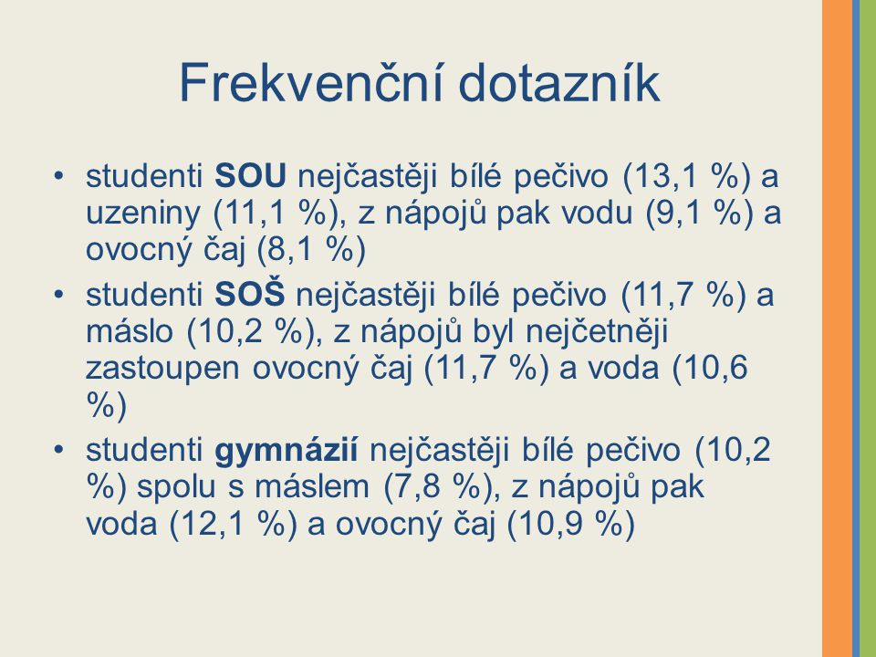 Frekvenční dotazník studenti SOU nejčastěji bílé pečivo (13,1 %) a uzeniny (11,1 %), z nápojů pak vodu (9,1 %) a ovocný čaj (8,1 %)