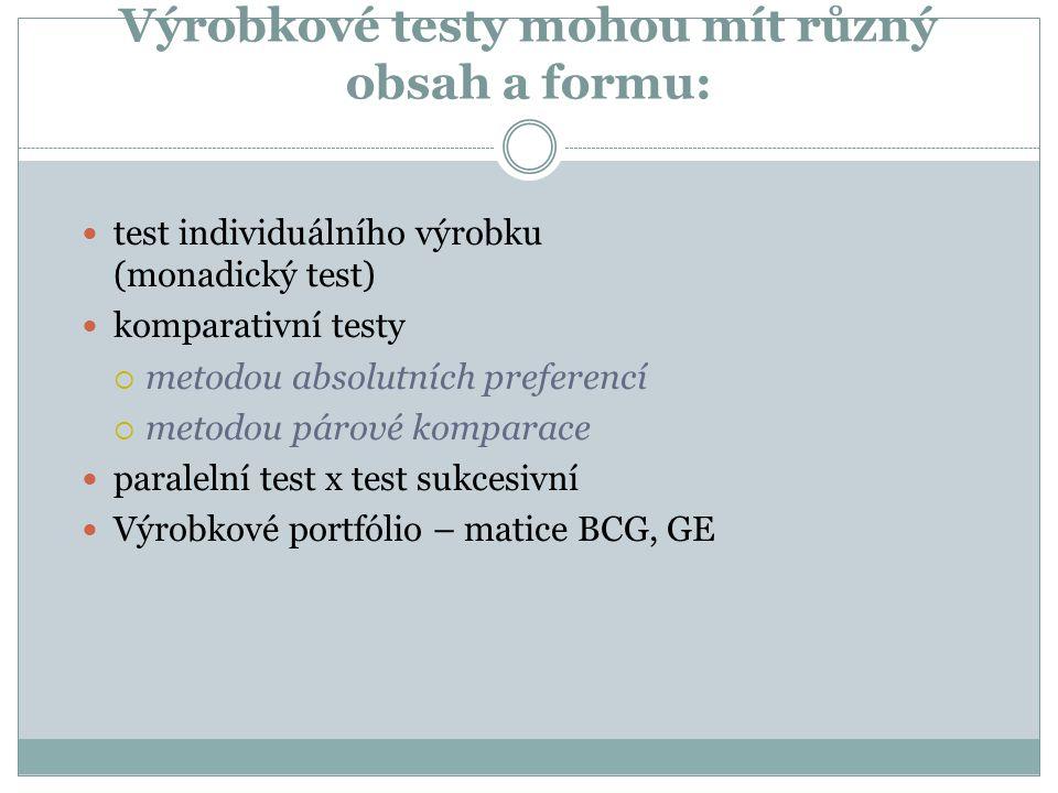 Výrobkové testy mohou mít různý obsah a formu: