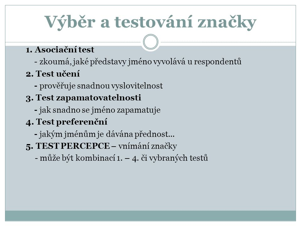Výběr a testování značky