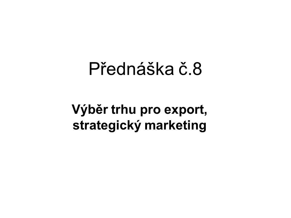 Výběr trhu pro export, strategický marketing