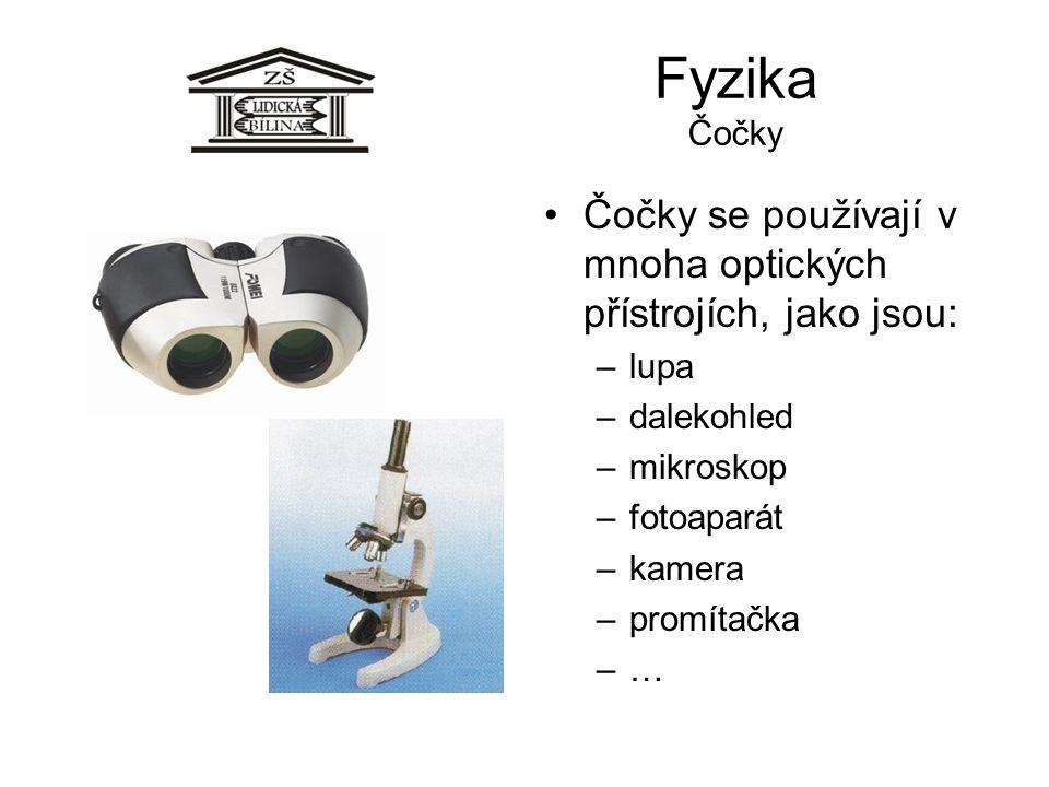 Fyzika Čočky Čočky se používají v mnoha optických přístrojích, jako jsou: lupa. dalekohled. mikroskop.