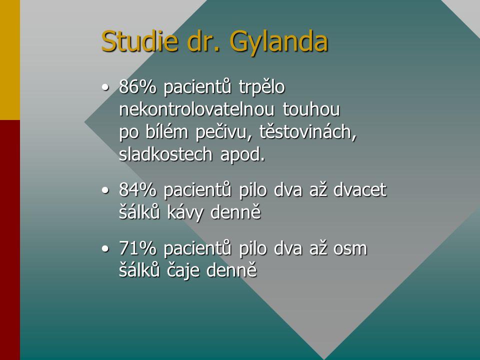 Studie dr. Gylanda 86% pacientů trpělo nekontrolovatelnou touhou po bílém pečivu, těstovinách, sladkostech apod.
