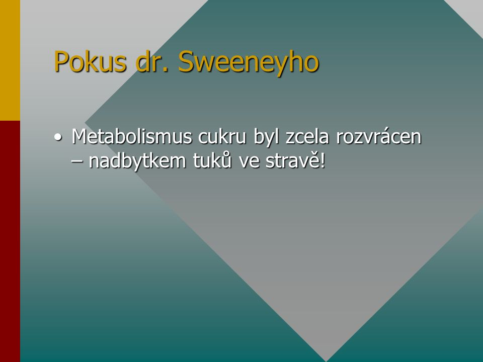 Pokus dr. Sweeneyho Metabolismus cukru byl zcela rozvrácen – nadbytkem tuků ve stravě!