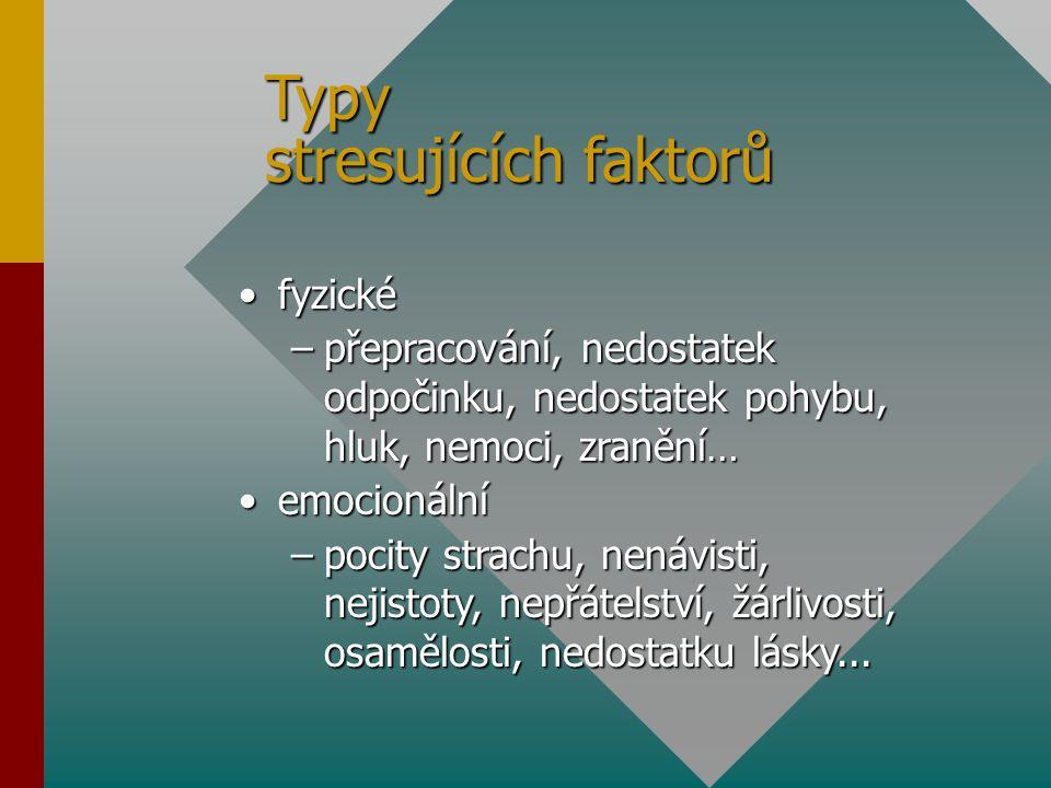 Typy stresujících faktorů