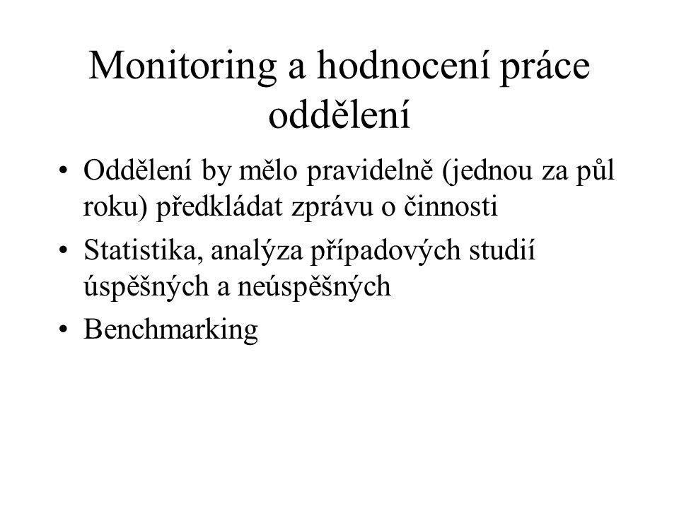 Monitoring a hodnocení práce oddělení