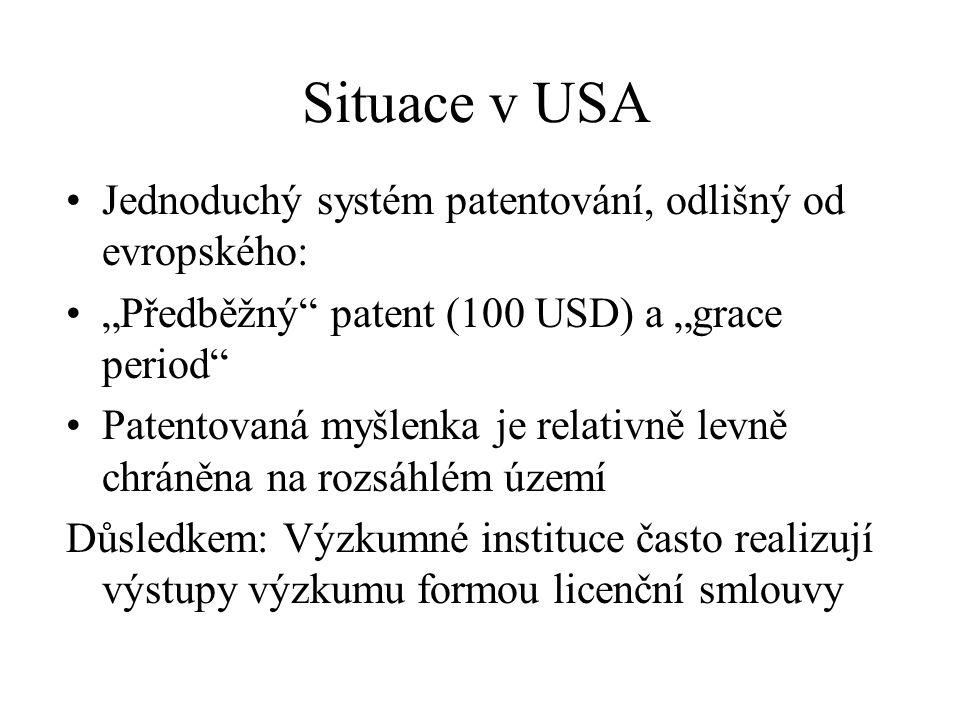 Situace v USA Jednoduchý systém patentování, odlišný od evropského: