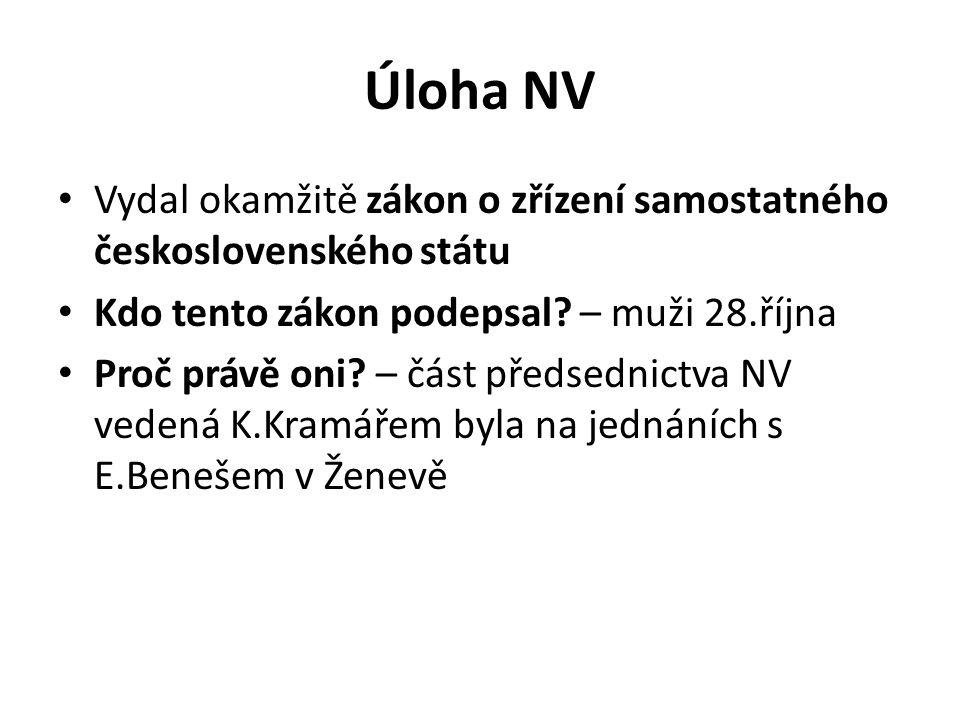 Úloha NV Vydal okamžitě zákon o zřízení samostatného československého státu. Kdo tento zákon podepsal – muži 28.října.