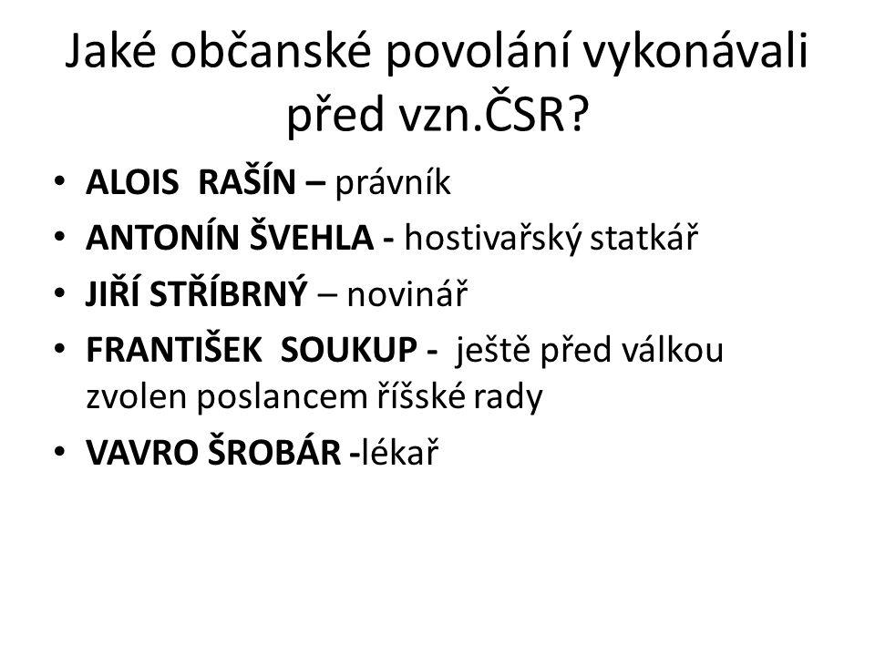Jaké občanské povolání vykonávali před vzn.ČSR