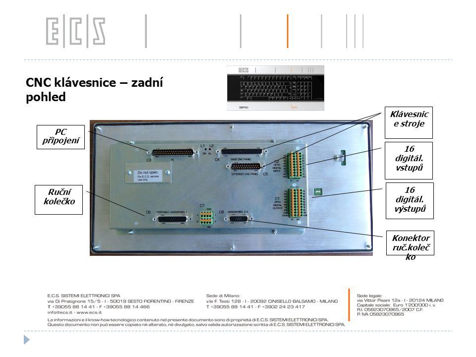 CNC klávesnice – zadní pohled