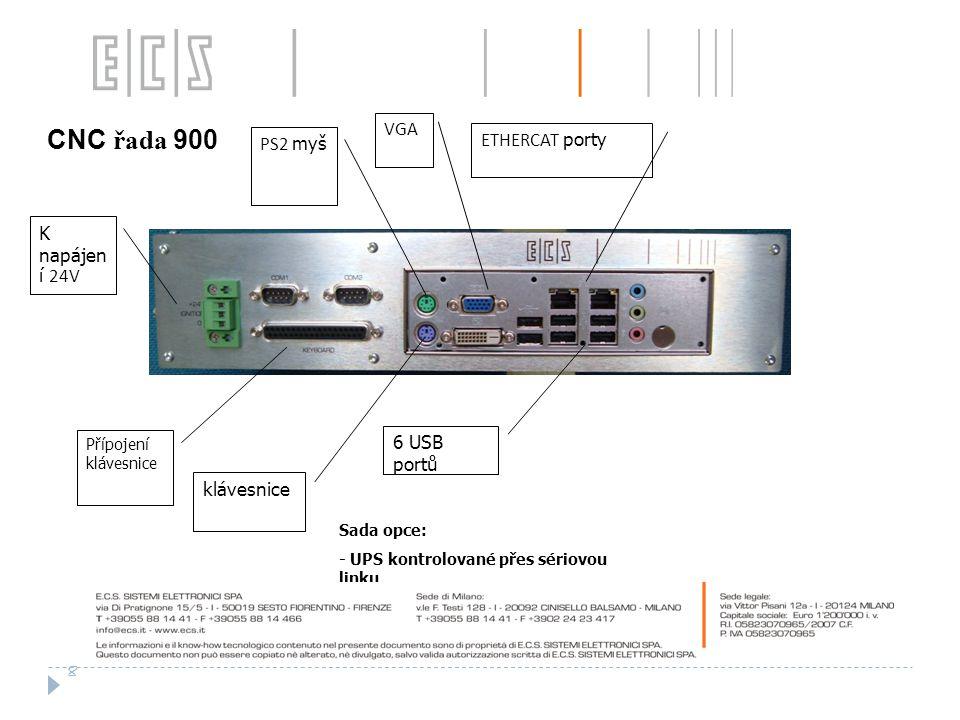 CNC řada 900 VGA ETHERCAT porty PS2 myš K napájen í 24V 6 USB portů