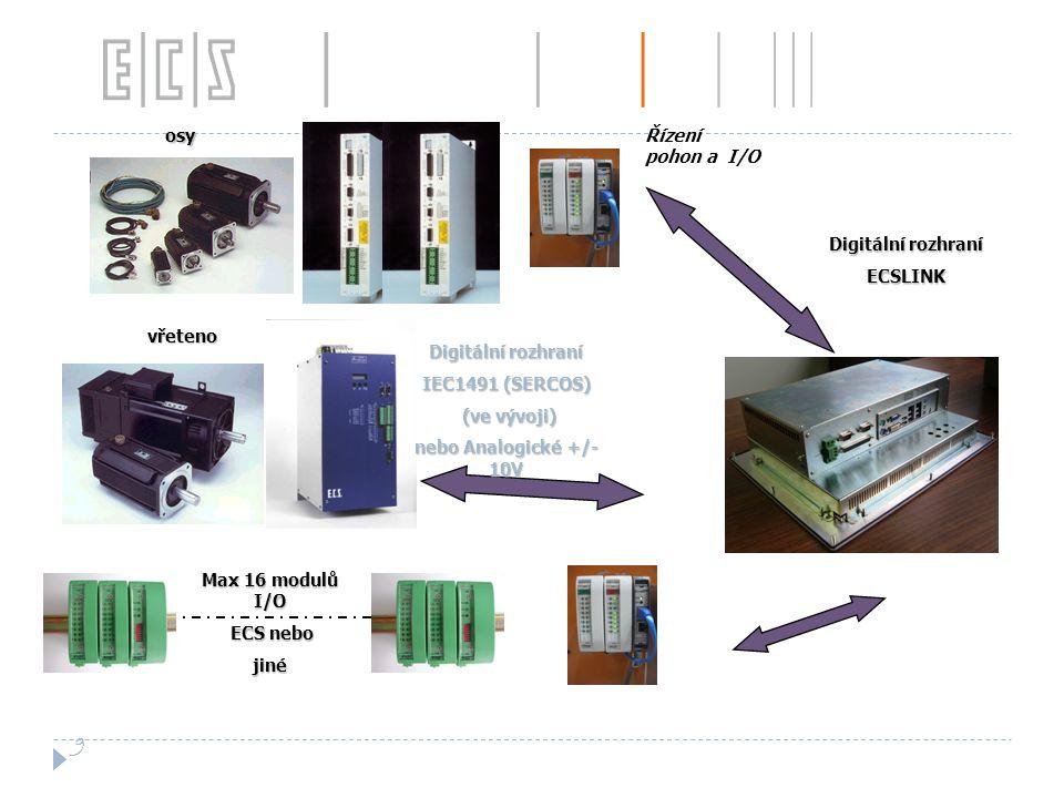 9 osy Řízení pohon a I/O Digitální rozhraní ECSLINK vřeteno