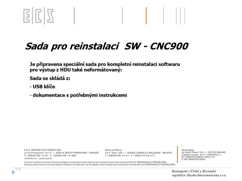 Sada pro reinstalaci SW - CNC900