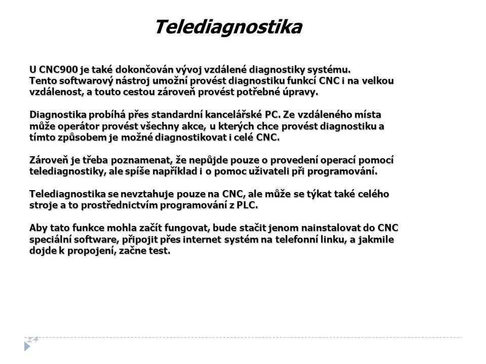Telediagnostika U CNC900 je také dokončován vývoj vzdálené diagnostiky systému.