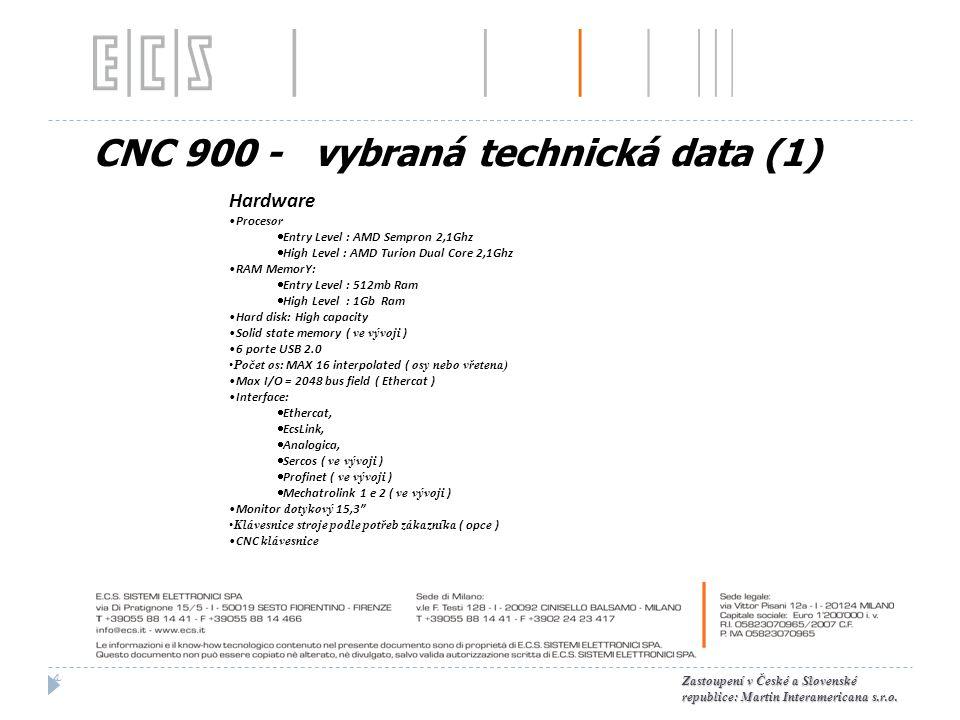 CNC 900 - vybraná technická data (1)