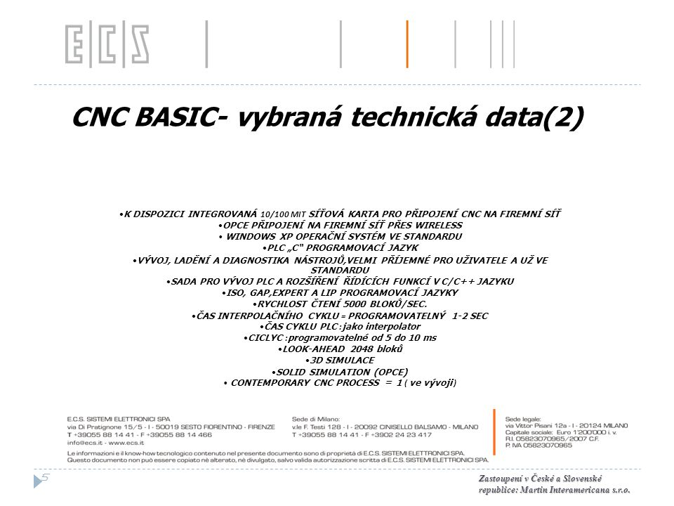 CNC BASIC- vybraná technická data(2)