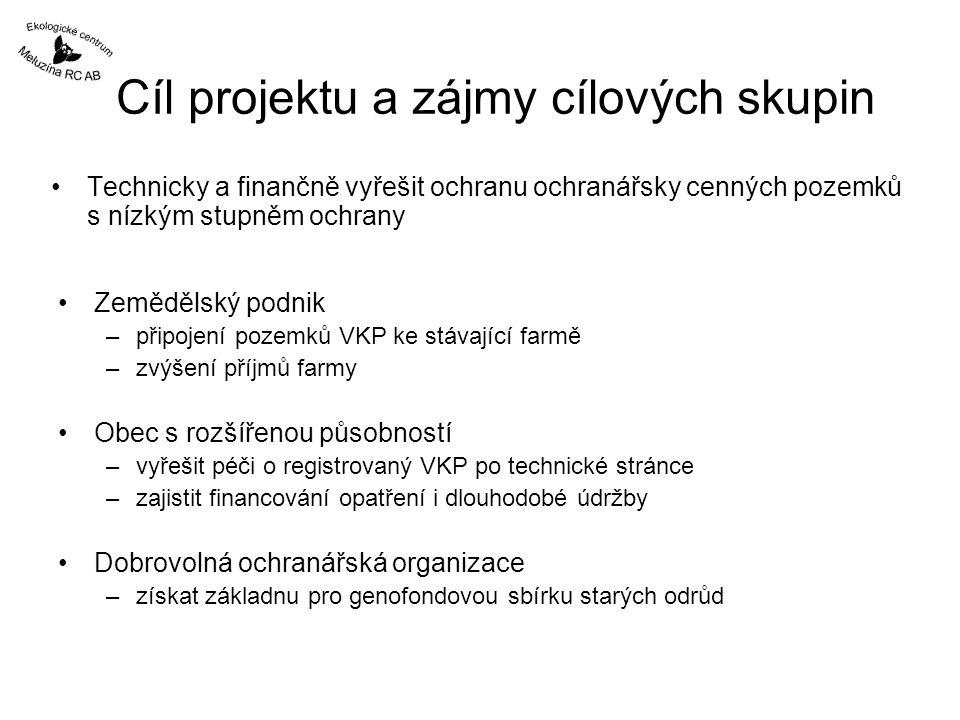 Cíl projektu a zájmy cílových skupin