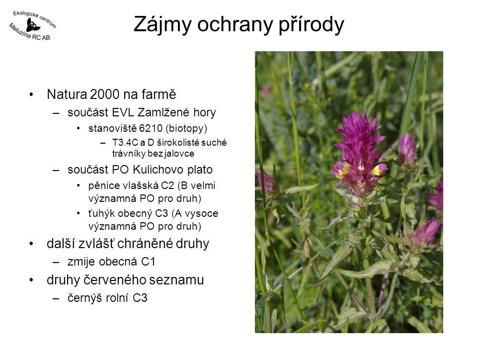 Zájmy ochrany přírody Natura 2000 na farmě další zvlášť chráněné druhy