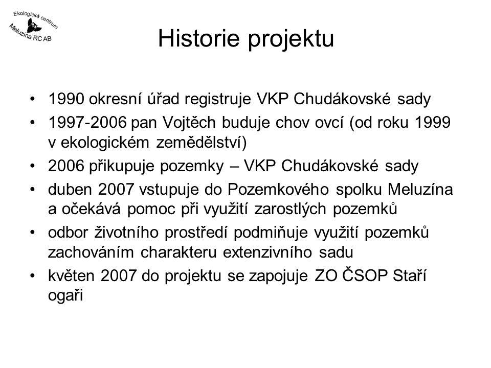 Historie projektu 1990 okresní úřad registruje VKP Chudákovské sady