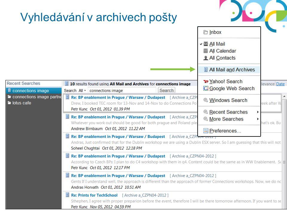 Vyhledávání v archivech pošty