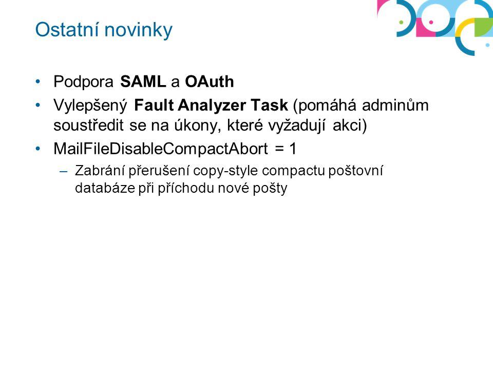 Ostatní novinky Podpora SAML a OAuth