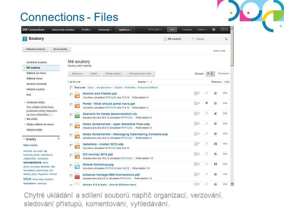Connections - Files Chytré ukládání a sdílení souborů napříč organizací, verzování, sledování přístupů, komentování, vyhledávání.
