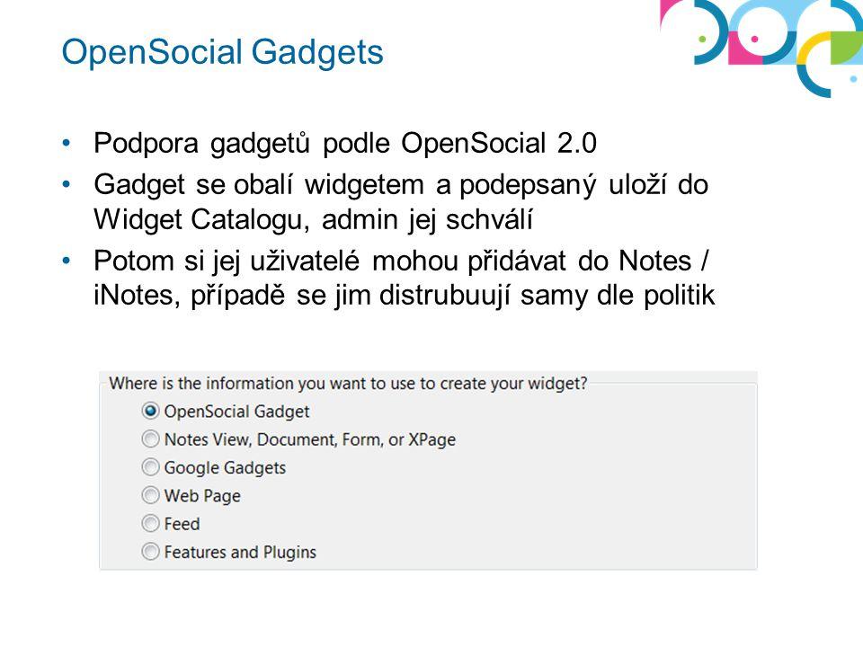 OpenSocial Gadgets Podpora gadgetů podle OpenSocial 2.0