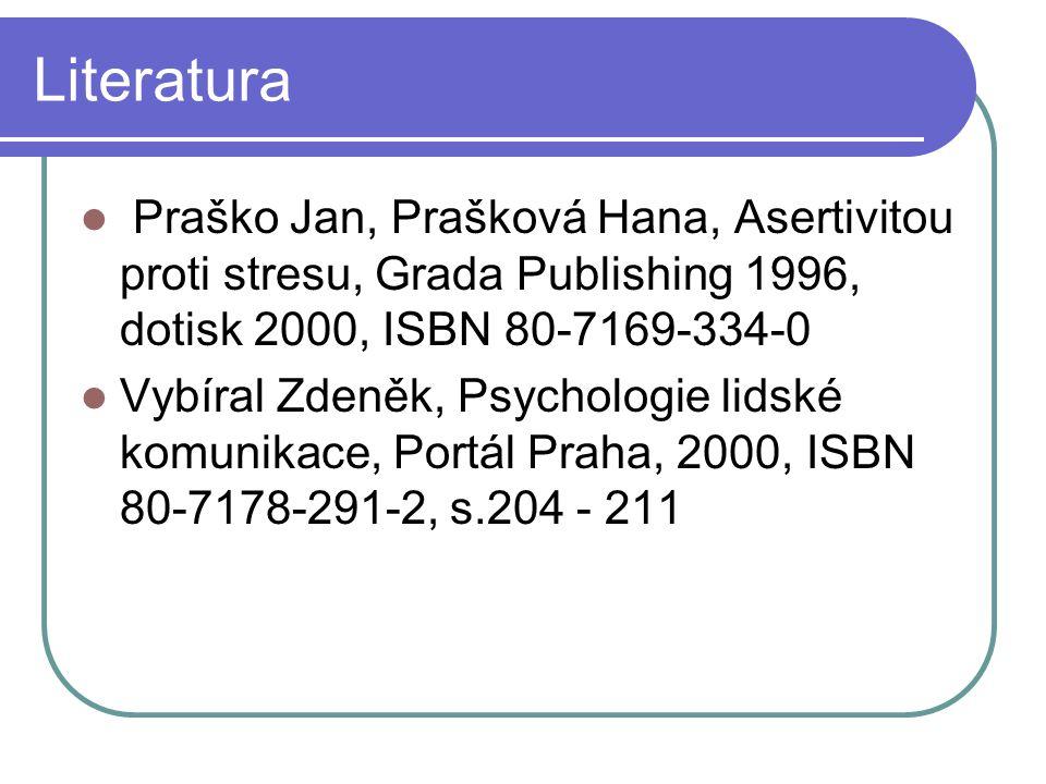 Literatura Praško Jan, Prašková Hana, Asertivitou proti stresu, Grada Publishing 1996, dotisk 2000, ISBN 80-7169-334-0.