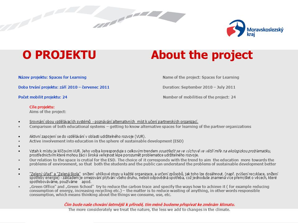 O PROJEKTU About the project