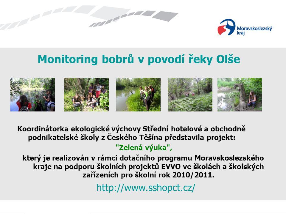 Monitoring bobrů v povodí řeky Olše