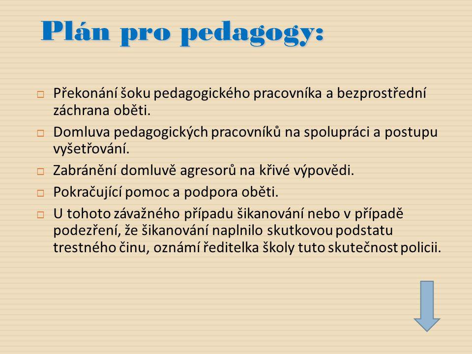 Plán pro pedagogy: Překonání šoku pedagogického pracovníka a bezprostřední záchrana oběti.