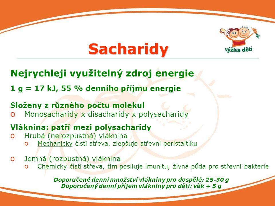 Sacharidy Nejrychleji využitelný zdroj energie