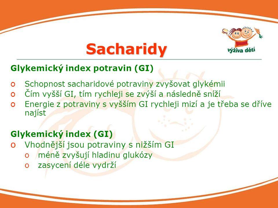 Sacharidy Glykemický index potravin (GI) Glykemický index (GI)