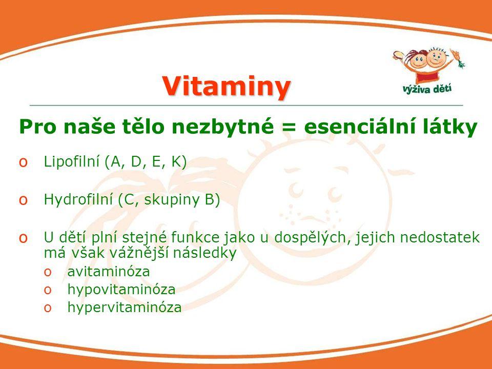 Vitaminy Pro naše tělo nezbytné = esenciální látky