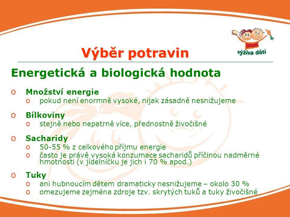 Výběr potravin Energetická a biologická hodnota Množství energie