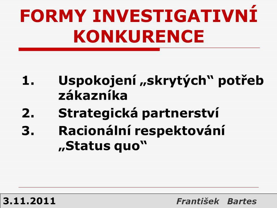 FORMY INVESTIGATIVNÍ KONKURENCE