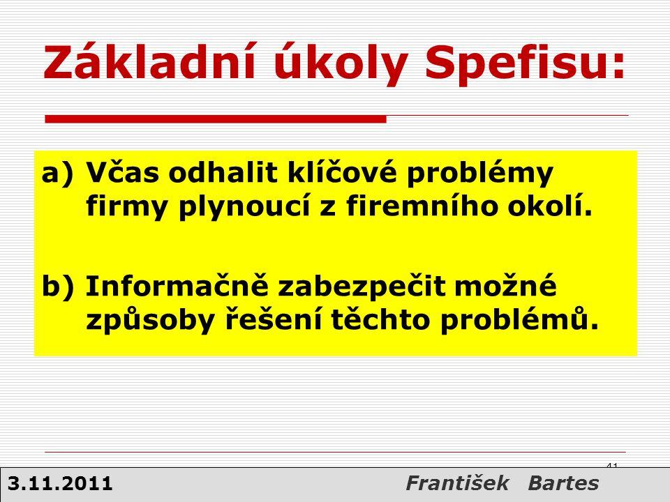 Základní úkoly Spefisu: