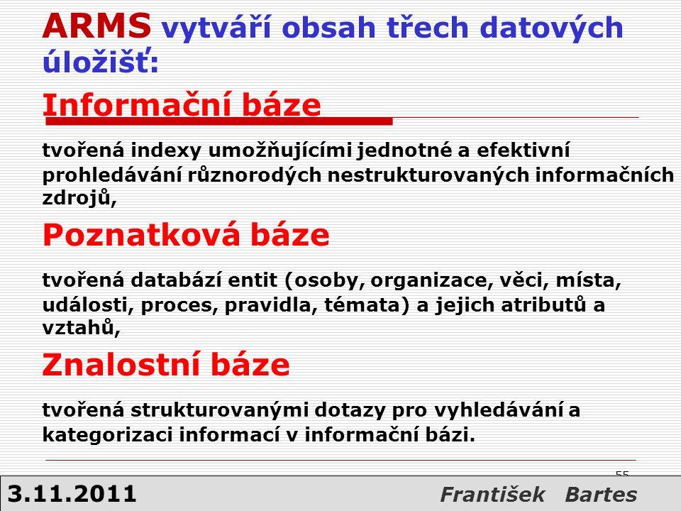 ARMS vytváří obsah třech datových úložišť: Informační báze