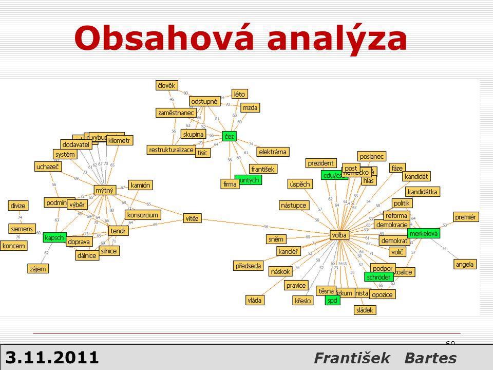 Obsahová analýza 3.11.2011 František Bartes