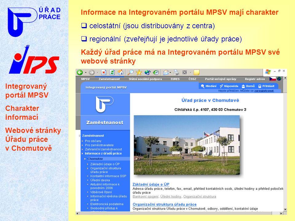 Informace na Integrovaném portálu MPSV mají charakter
