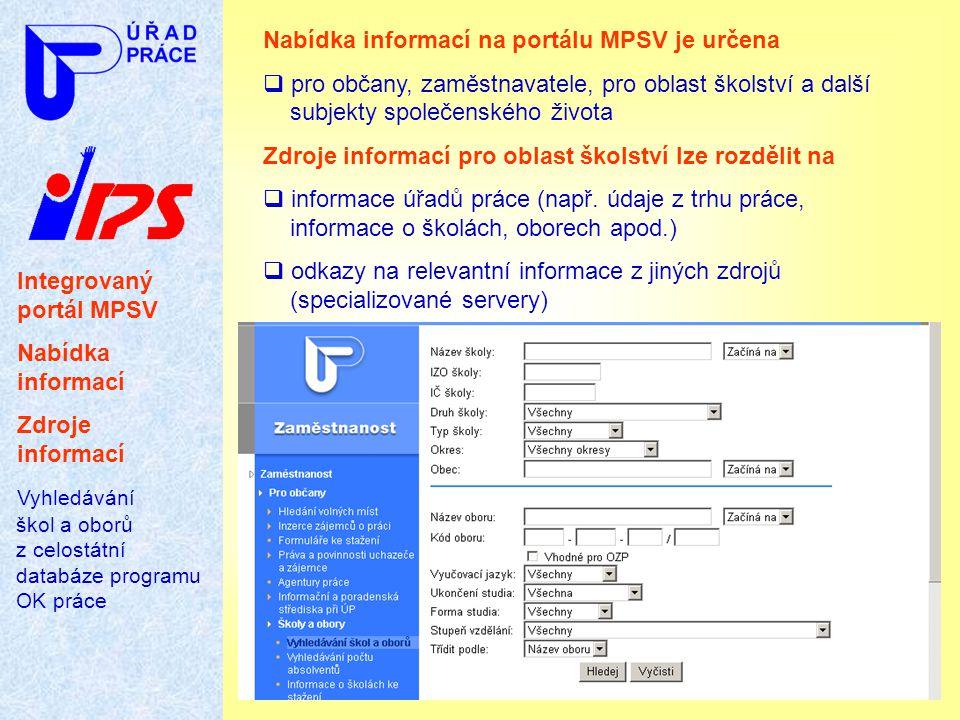 Nabídka informací na portálu MPSV je určena
