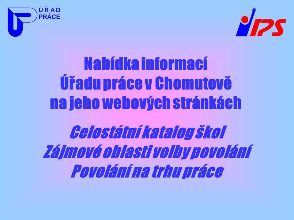 Nabídka informací Úřadu práce v Chomutově na jeho webových stránkách