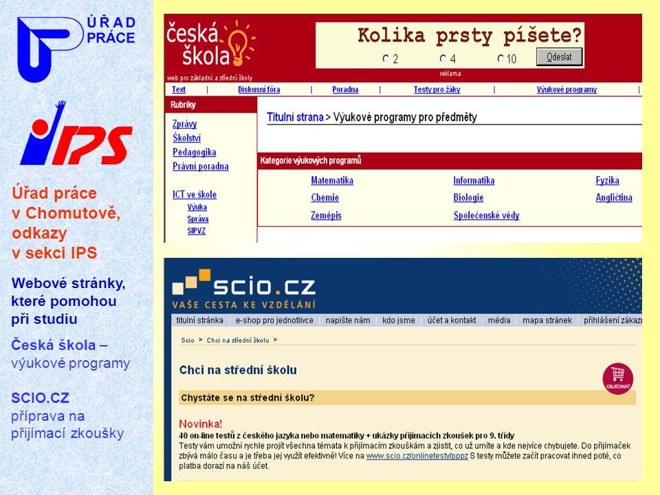 Úřad práce v Chomutově, odkazy v sekci IPS
