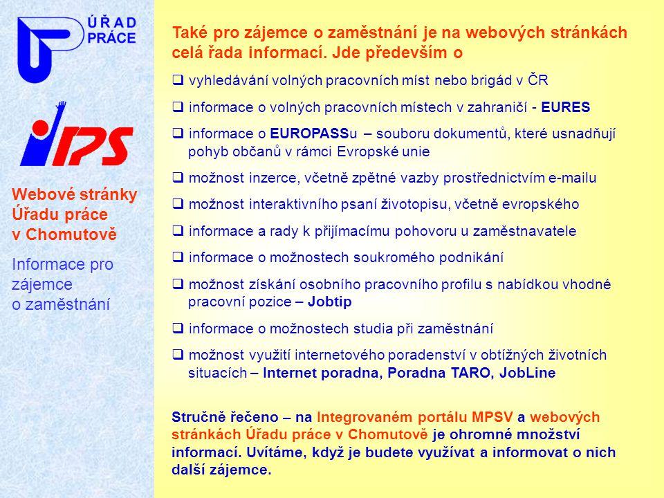 Webové stránky Úřadu práce v Chomutově