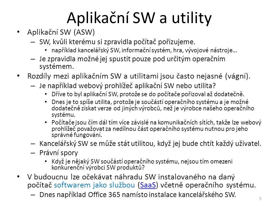 Aplikační SW a utility Aplikační SW (ASW)